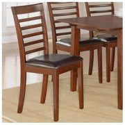 East West MC-MAH-LC Milan ladder back chairs with FAUX LEATHER upholstered seat, Mahogany - Pack of 2