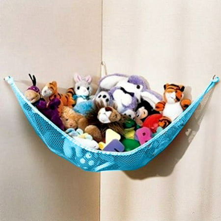Dozenegg Stuffed Animal & Toy Organizer Hammock Pet Net, Blue Net and Trim - Stuffed Animal Pigs
