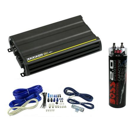Kicker 12CX12001 1200 Watt Monoblock Car Class D Amplifier + Wiring +  Capacitor