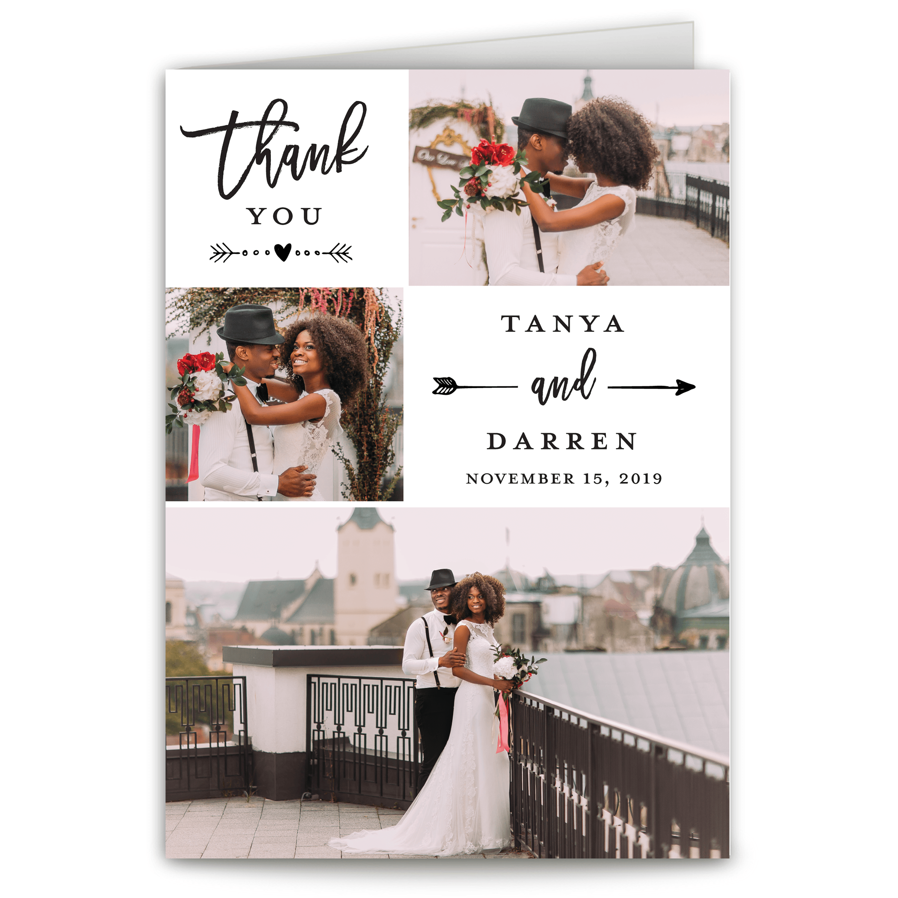 Personalized Wedding Thank You Card - Hearts & Thanks - 5 x 7 Folded