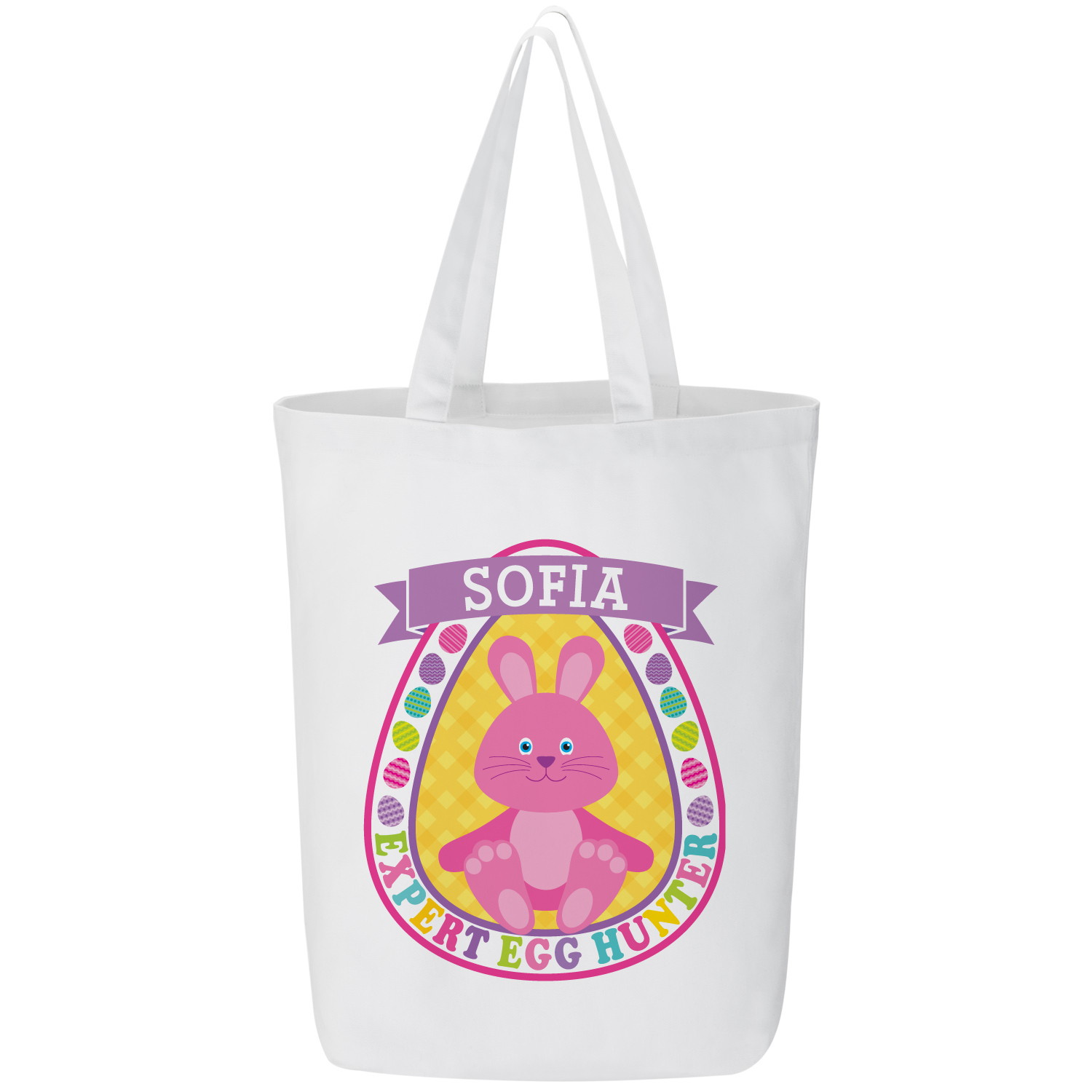 Personalized Bunny Egg Hunter Tote Bag - Pink