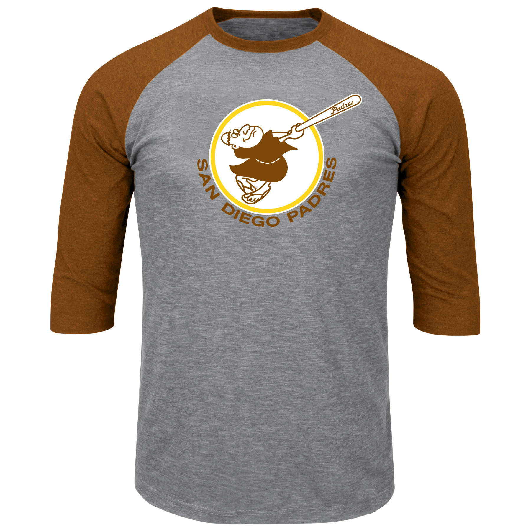 San Diego Padres Majestic Big & Tall Cooperstown Collection 3/4-Sleeve Raglan T-Shirt - Heathered Gray/Brown