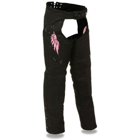 Milwaukee Womens Textile Chaps w/Wing & Rivet Detailing Pink Ladies Black Chaps