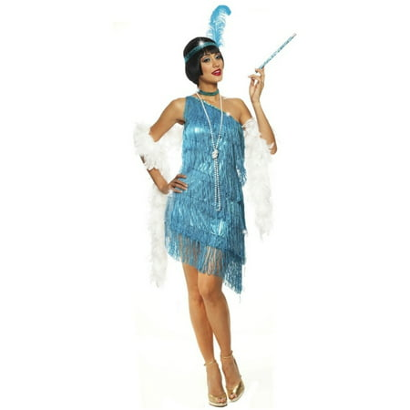 1920s Flapper Style Dress (Turquoise Adult 1920s Dazzling Flapper Dress)