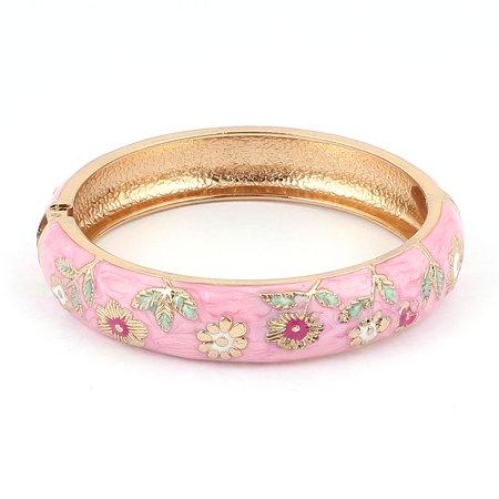 Unique Bargains Women Flower Carved Gold Plated Wide Bangle Bracelet Gift Pink