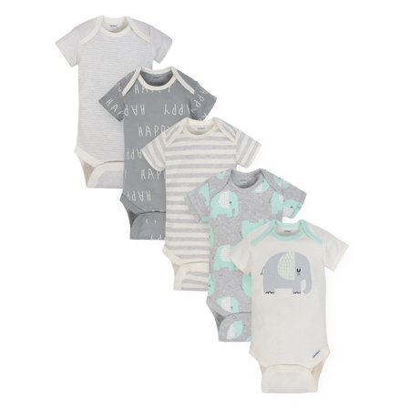 Gerber Organic Cotton Assorted Onesies Bodysuits, 5pk (Baby Boys or Baby Girls,