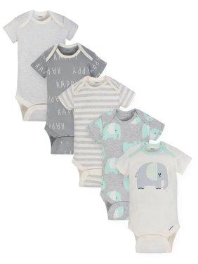 Gerber Organic Cotton Assorted Onesies Bodysuits, 5pk (Baby Boys or Baby Girls, Unisex)