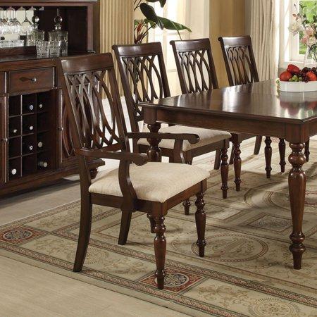 ACME Farrel Arm Chair, Sand Linen & Walnut (Set of 2)