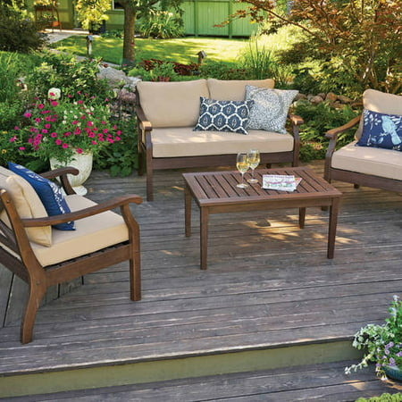 Better Homes And Gardens Cawood Place 4 Piece Conversation Set With Natural Olefin Cushions