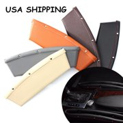 2x PU Leather Auto Car Seat Lip Slit Pocket Storage High Quality Edged Catcher Catch Caddy Box Automotive Organizer Console Side Gap Filler For Cell Phone, Credit Cards, Money, Key