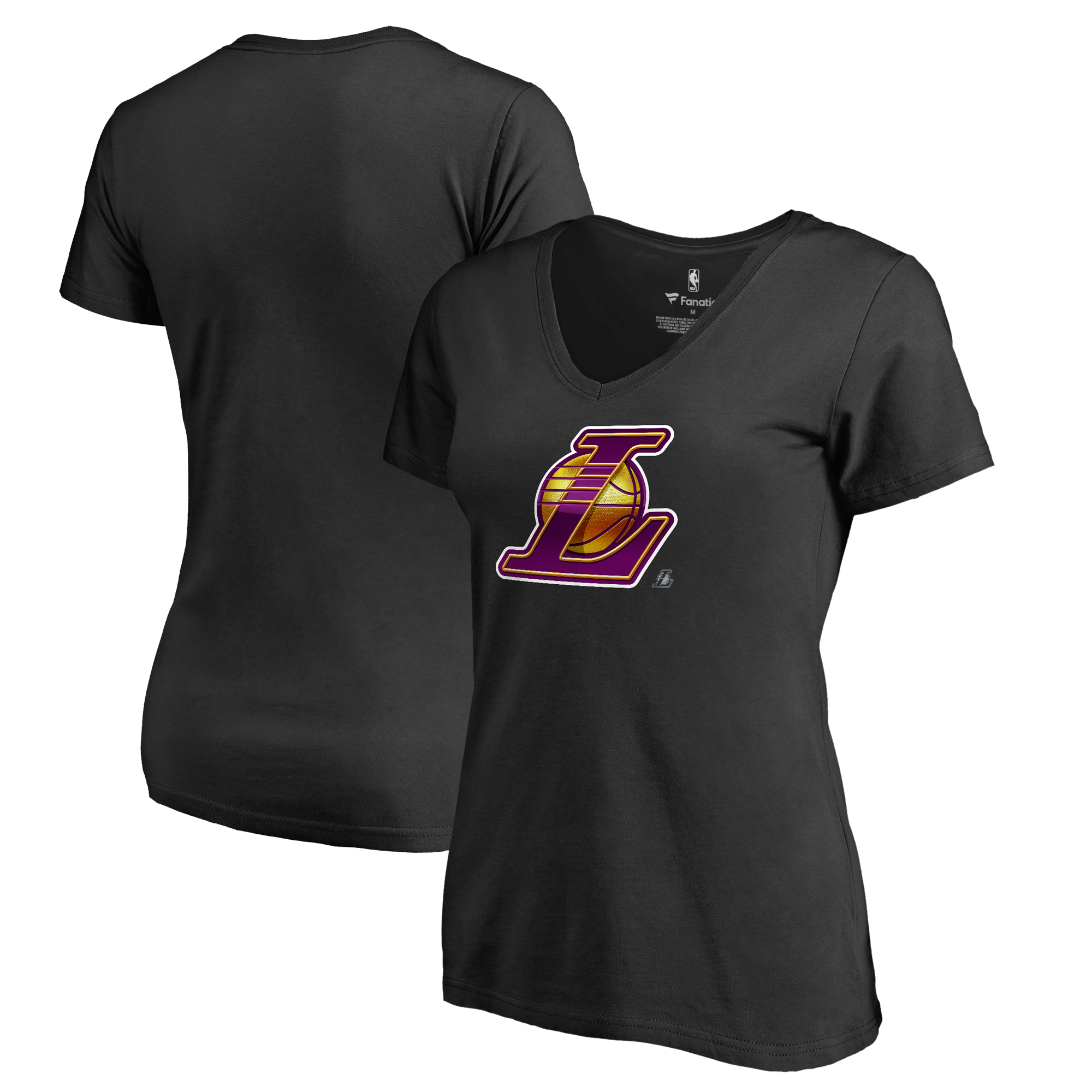 Los Angeles Lakers Fanatics Branded Women's Midnight Mascot V-Neck T-Shirt - Black
