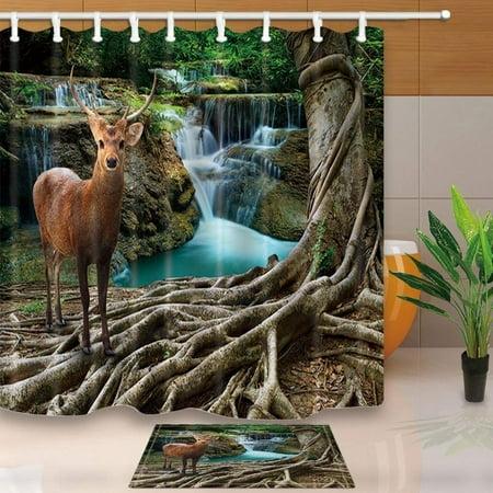 ARTJIA Safari Wild Animals Deer Decor Sambar Deer Under Bayan Tree with Waterfalls Rock Stone Shower Curtain 66x72 inches with Floor Doormat Bath Rugs 15.7x23.6 inches](Safari Decor Ideas)
