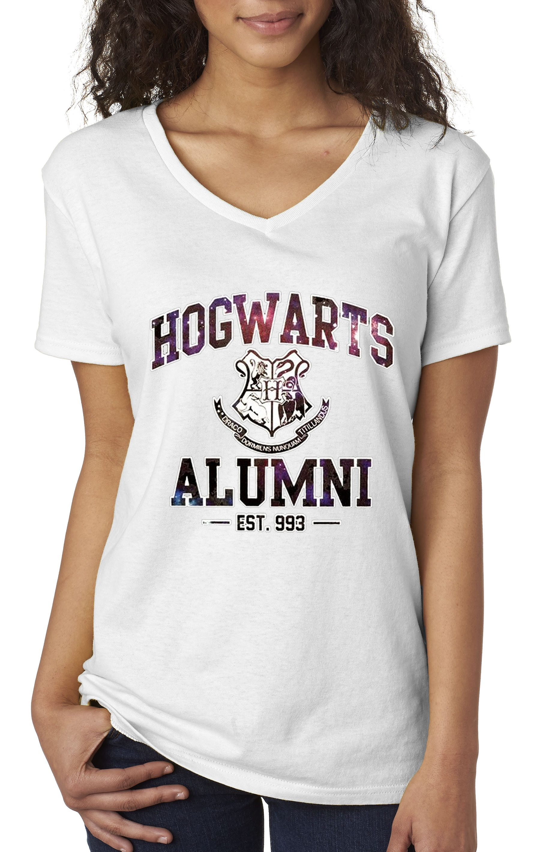8049f921 New Way - New Way 214 - Women's V-Neck T-Shirt Hogwarts Alumni Galaxy Harry  Potter - Walmart.com