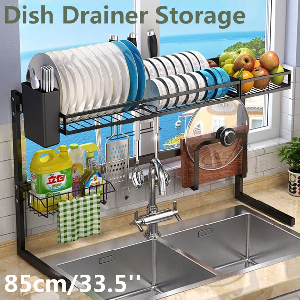25 6 11 9 20inch 33 5 11 9 20inch black upgrade triangular l shaped structure design dish rack over sink dish drying rack stainless steel kitchen