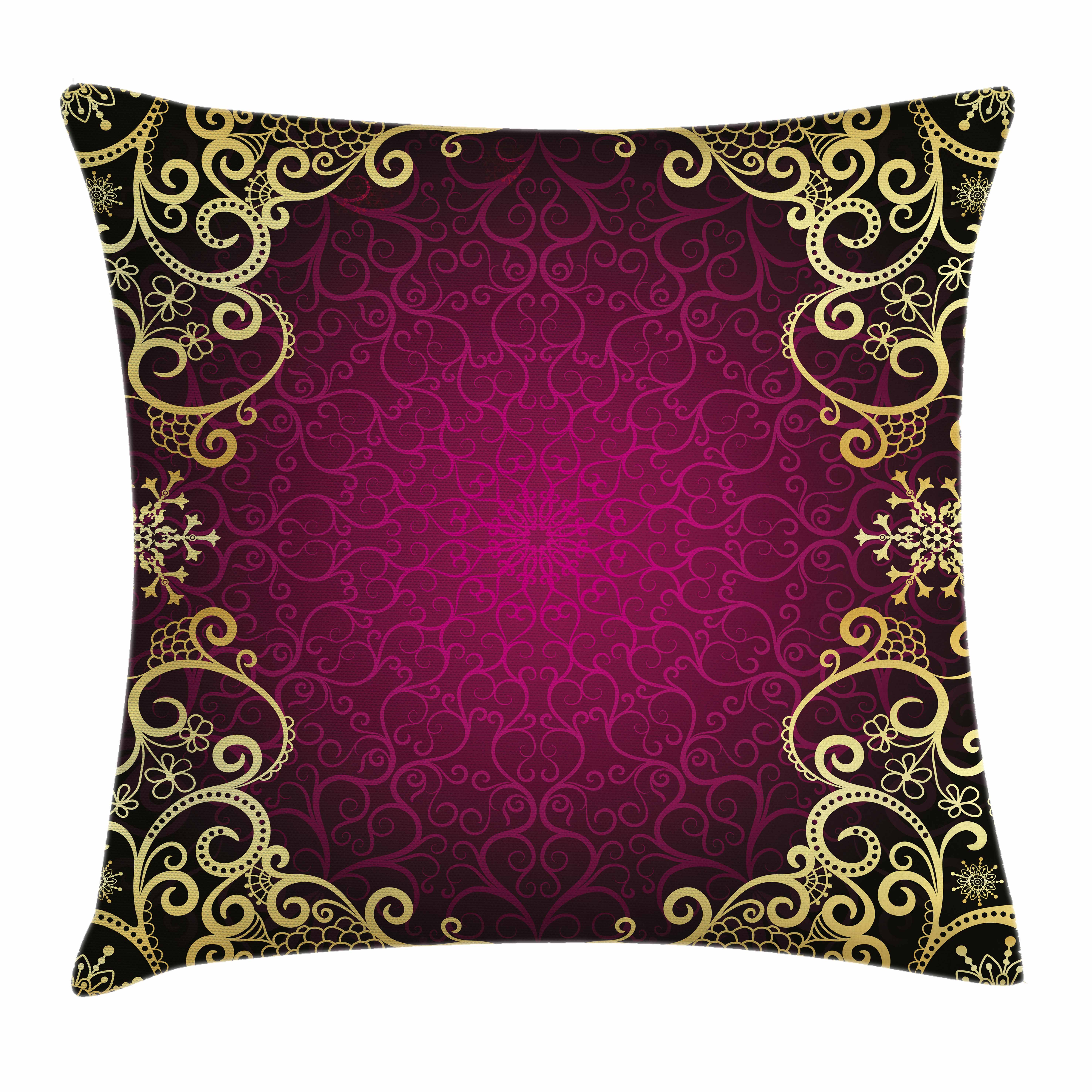 Gold Mandala Throw Pillow Cushion Cover, Purple Vintage Framework with Curls Snowflake Fantastic Abstract Retro Style, Decorative Square Accent Pillow Case, 16 X 16 Inches, Purple Gold, by Ambesonne