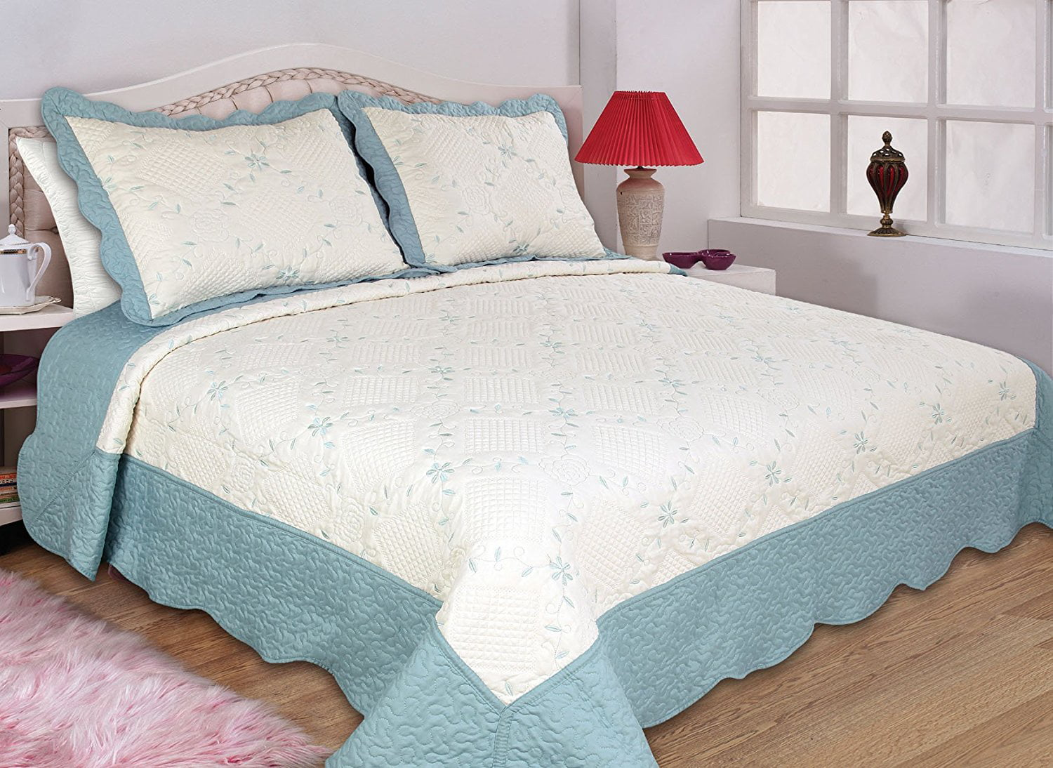 All for You 3pc Reversible Quilt Set, Bedspread, and Coverlet-4 different sizes-Aqua and... by All For You Home
