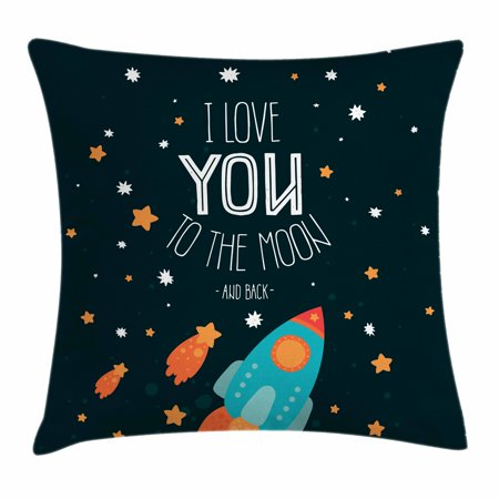 Couple Themes (I Love You Throw Pillow Cushion Cover, Rocket on the Road of Space Adventurist Cosmic Couples Happy Birthday Theme, Decorative Square Accent Pillow Case, 16 X 16 Inches, Multicolor, by)