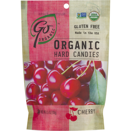 Go Organic Hard Candy - Cherry, 3.5 Ounce Bag
