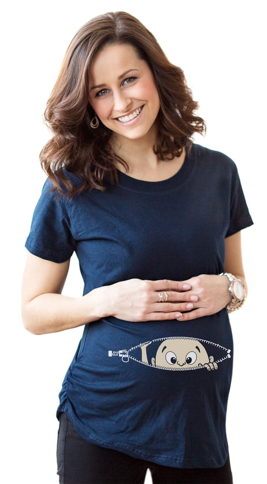 Crazy Dog TShirts - Maternity Baby Peeking T Shirt Funny Pregnancy Tee For Expecting Mothers