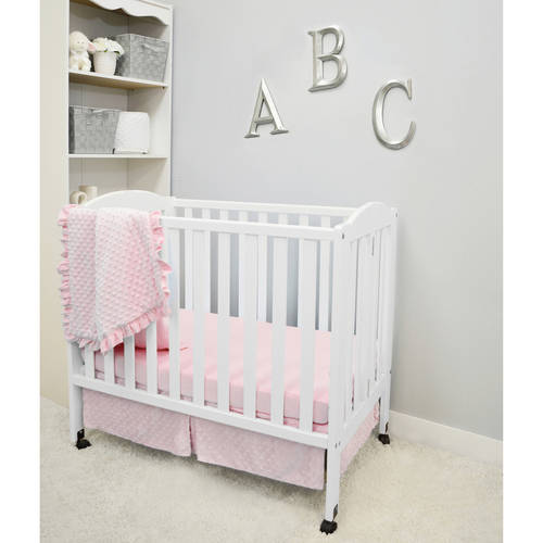 American Baby Company Heavenly Soft Minky Dot 3-Piece Mini/Portable Crib Bedding Set, Choose your Color