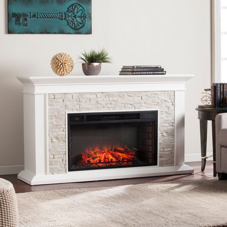 Candore Heights Faux Stone Electric Fireplace, White ()