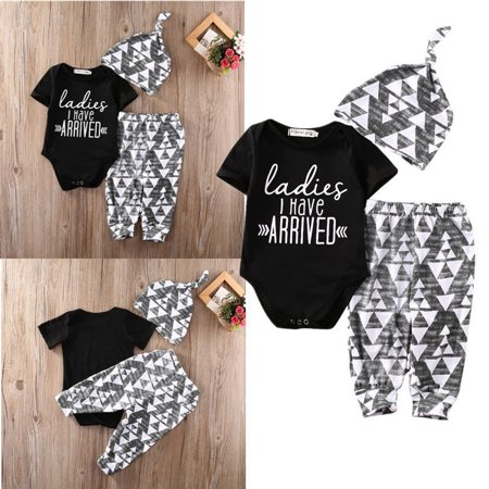 Newborn Infant Baby Boy Cotton Tops Romper Pants Legging Hat Outfits Clothes Set