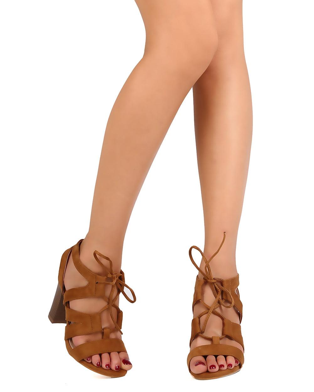 981e15e4f277 DbDk - DbDk FC45 Women Faux Suede Open Toe Lace Up Cut Out Chunky Heel  Sandal - Walmart.com