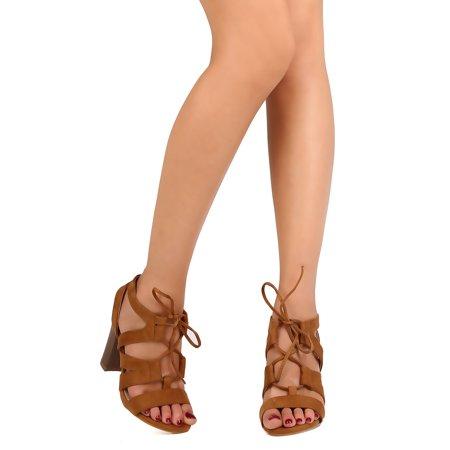 9b22176ac3c6c DbDk - New Women DbDk Nitro-01 Faux Suede Open Toe Lace Up Cut Out Chunky  Heel Sandal - Walmart.com