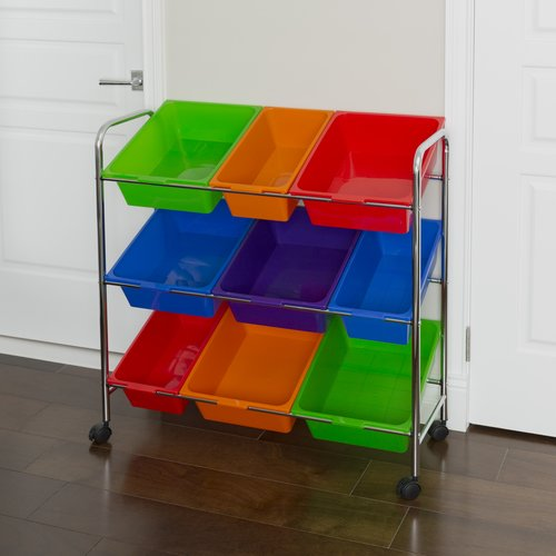 Mobile Toy Storage Organizer, 9-Bins in Fun Colors by Seville Classics