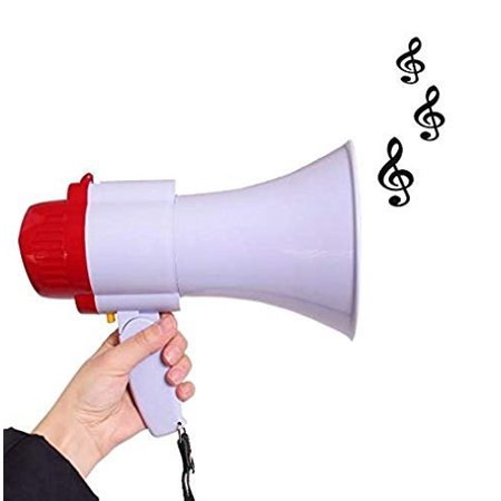 Megaphone Toy - Pretend Play Musical Bullhorn Toy with Record and Adjustable Volume Controls | Handheld Microphone Loudspeaker | Interactive Plastic Megaphone with Sirens and Music for kids Parties - Megaphone Plastic
