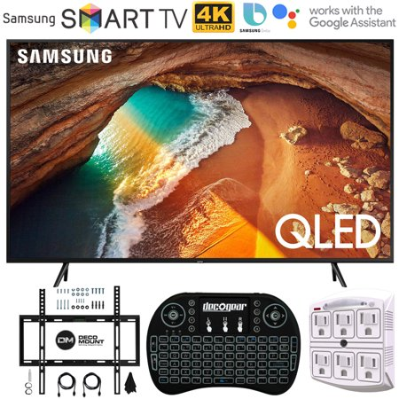 Samsung QN65Q60RA 65 Q60 QLED Smart 4K UHD TV with 1 Year Warranty (Renewed) Flat Wall Mount Bundle with Deco Gear 2.4GHz Wireless Keyboard Smart Remote and 6-Outlet Surge Protector
