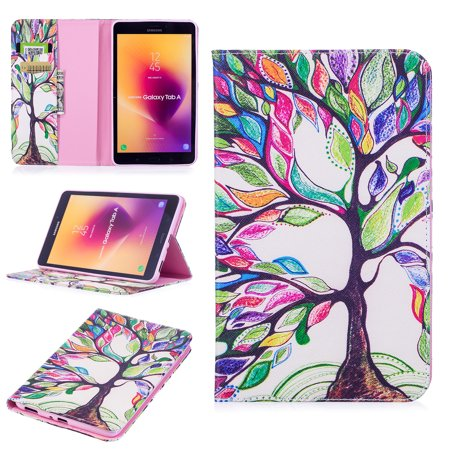 For Samsung Galaxy Tab A 8.0 (2017 Released, SM-T385/ T380) Tablet Case, Dteck Folio Leather Card Wallet Stand Cover With Card Slot, Happy (Samsung Galaxy Tab A 2017 Release Date)
