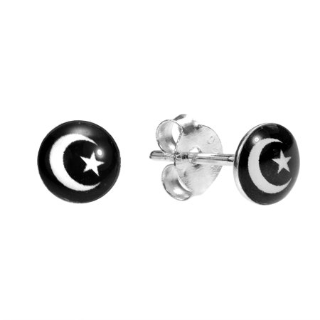 Petite Sparkly Moon and Star .925 Sterling Silver Stud Earrings