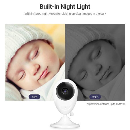Barbala Wireless Video Baby Monitor with 2.4 inch LCD Color Screen,Digital Camera,Temperature Monitoring, Lullaby,Infrared Night Vision, Two-Way Talk, Long Range and High Capacity Battery - image 3 of 7