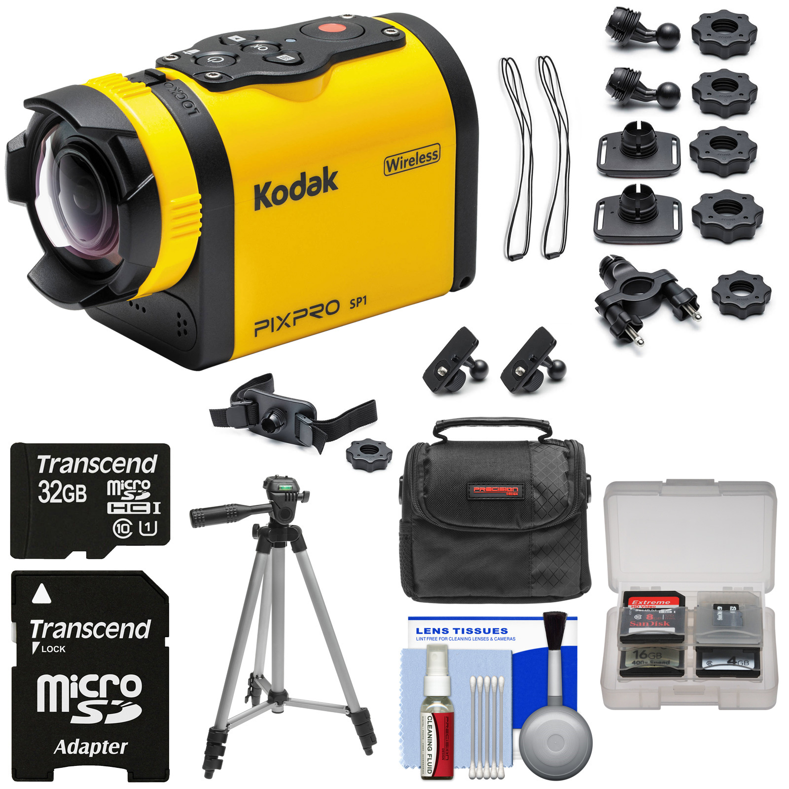 Kodak PixPro SP1 Video Action Camera Camcorder - Explorer Pack with 32GB Card + Battery + Case + Tripod + Kit