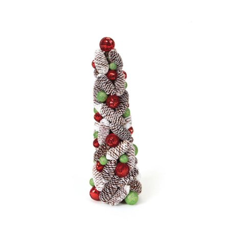 """18"""" Candy Crush Frosted Pine Cone and Ball Artificial Christmas Topiary Tree"""