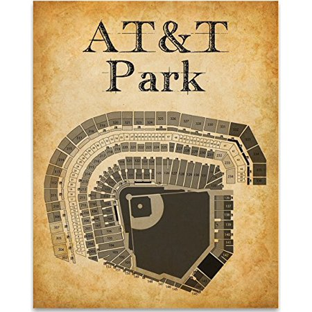 AT&T Park Stadium Baseball Seating Chart Art Print - 11x14 Unframed Art Print - Great Sports Bar Decor and Gift for Baseball