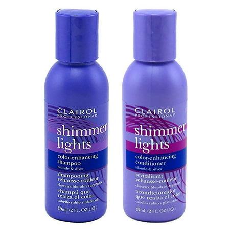 Clairol Shimmer Lights Shampoo Conditioner 2 Ounce (59ml) Travel Size Set Shimmer Lights Shampoo