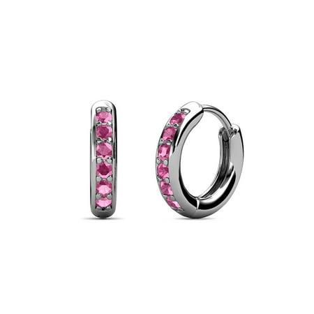Petite Pink Sapphire Huggies Hoop Earrings 0.25 Carat tw in 14K White - Hoop Pink Sapphire Earrings
