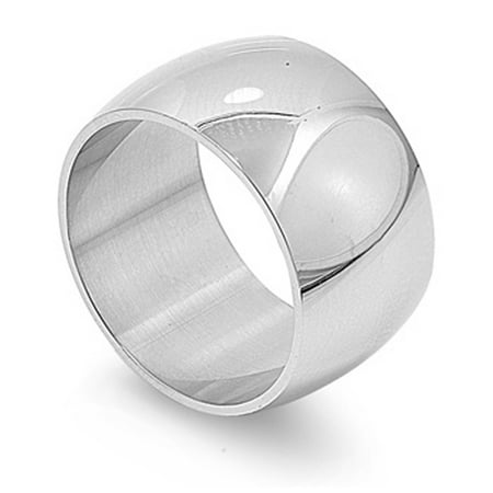 Men's Women's Wide Ring Fashion Polished Stainless Steel Band 12mm Size 12 Polished Wide Band Ring