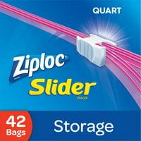 Ziploc Slider Storage Bags, Quart, 42 Count