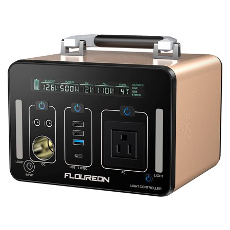 Floureon 500Wh Power Generator Portable Li On Charger with AC DC USB Input PD Quick Charge for Home And Outdoors Laptops Tablets Cell Phones Lighting