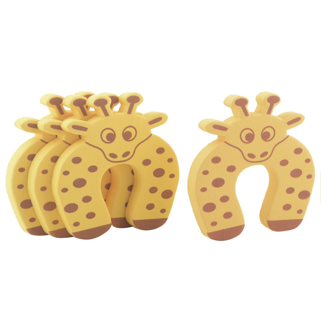 4 Pcs Cartoon Giraffe    Finger Pinch Guard Foam Door Stop Cushion Yellow