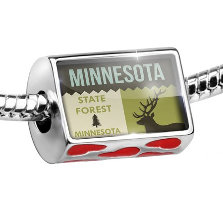 Minnesota State Charm - Bead National US Forest Minnesota State Forest Charm Fits All European Bracelets