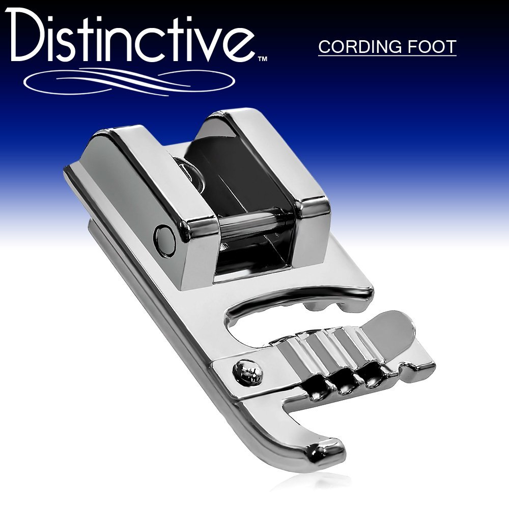 Distinctive Cording Sewing Machine Presser Foot - Fits All Low Shank Snap-On Machines