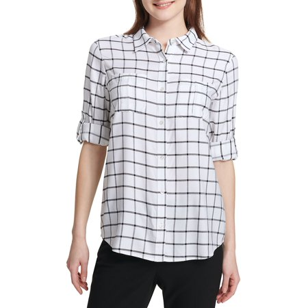 Windowpane Button-Down Shirt Calvin Klein 2 Button Tuxedo