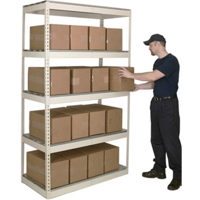 Hallowell DRH723084-4SP Rivetwell, Double Rivet Boltless Shelving 72 in. W x 30 in. D x 84 in. H 729 Parchment 4 Levels