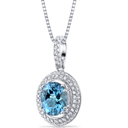 Peora 2.75 Carats Swiss Blue Topaz Halo Pendant Necklace in Sterling Silver