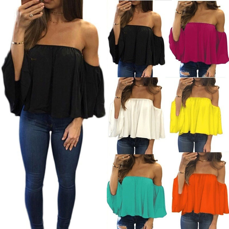 Chiffon Blouse Half Sleeve Slash Neck Soild Shirt Women Strapless Off Shoulder Fashion Feminine Blouses Ladies Tops