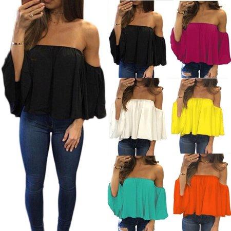 Chiffon Blouse Half Sleeve Slash Neck Soild Shirt Women Strapless Off Shoulder Fashion Feminine Blouses Ladies - Gold Off Shoulder
